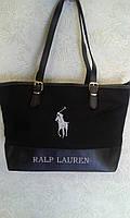 Молодежная сумка из текстиля черная с логотипом  Ralp Lauren
