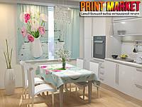 Фотошторы для кухни ваза с цветами