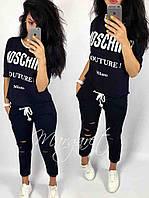 Костюм спортивный женский футболка и штаны 7/8 Москино размеры от 38 до 56