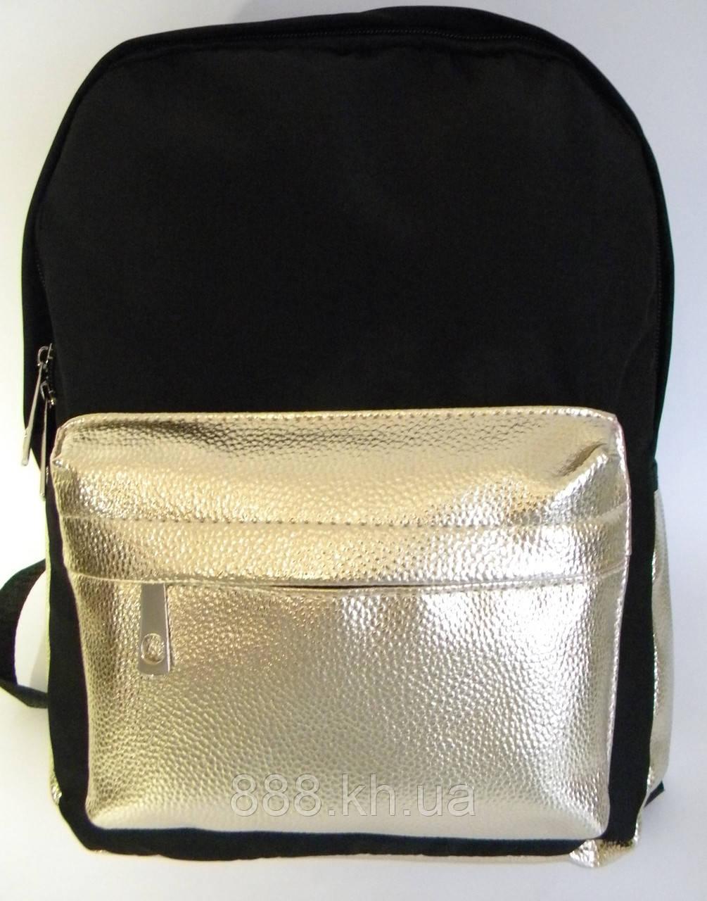 Женский рюкзак черный/серебро