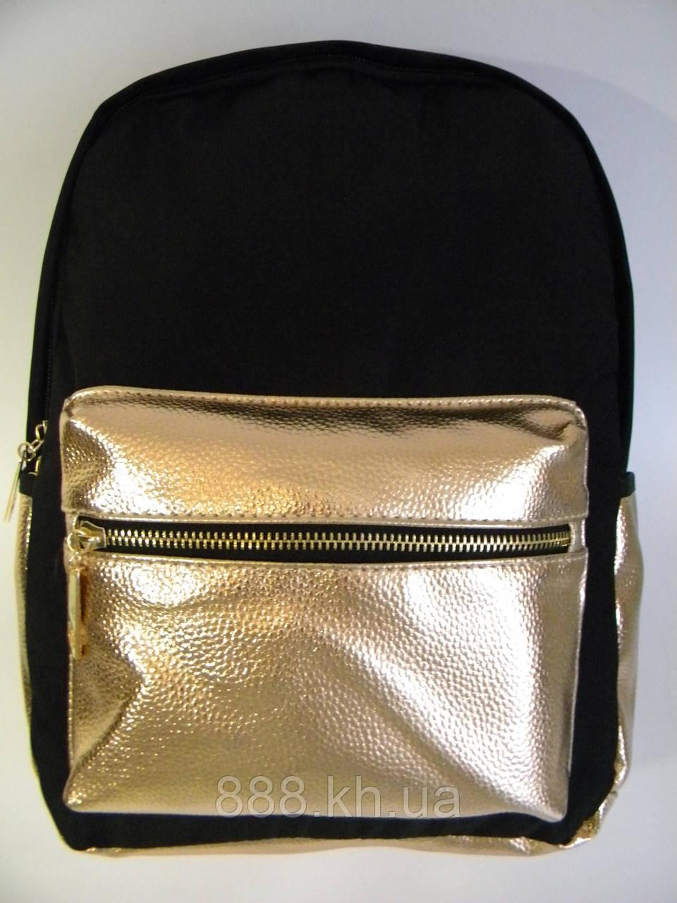 Женский рюкзак черный/золото