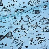 Футер рыбы на голубом  №0057