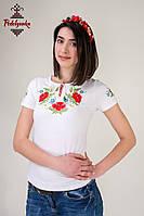 Жіноча вишита футболка Маки червоні, фото 1