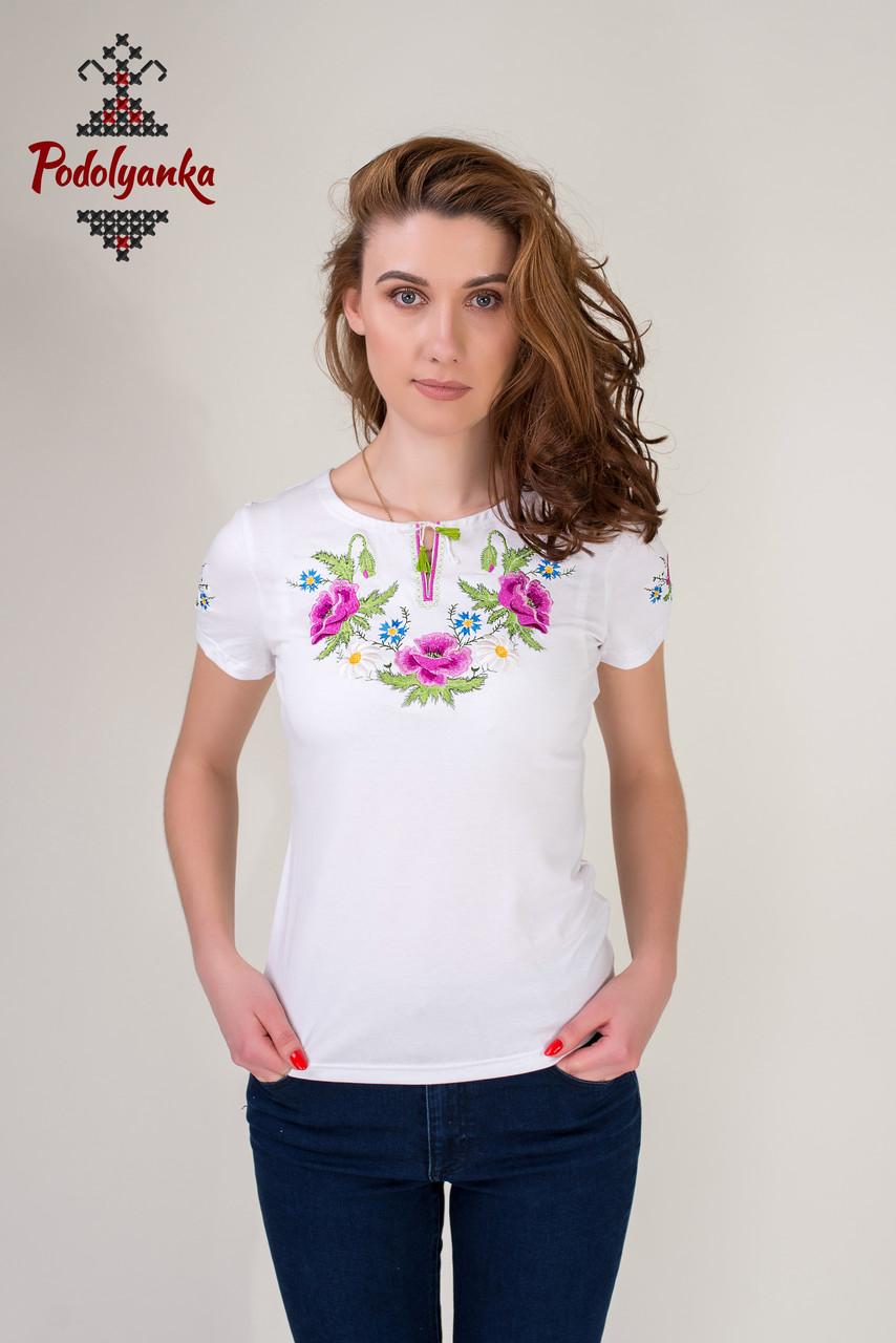 Жіноча вишита футболка Маки рожеві  продажа ed071ab02e493