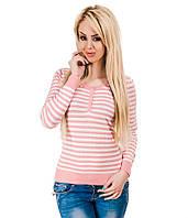 Свитер женский в полоску  розовый, фото 1