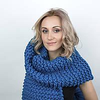 Объемный вязаный шарф из толстой мериносовой пряжи 25*270 см, фото 1