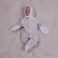 """Трикотажний чоловічок для новонароджених """"Сердечка"""" на молочному, фото 1"""