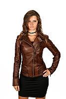 Кожаная куртка, натуральная, коричневая