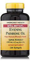 Масло примулы вечерней 1300 мг 120 капс от  мастопатии эндометриоза  для гормонального баланса American Health
