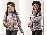 Женская  куртка цветы  . размеры 42-46