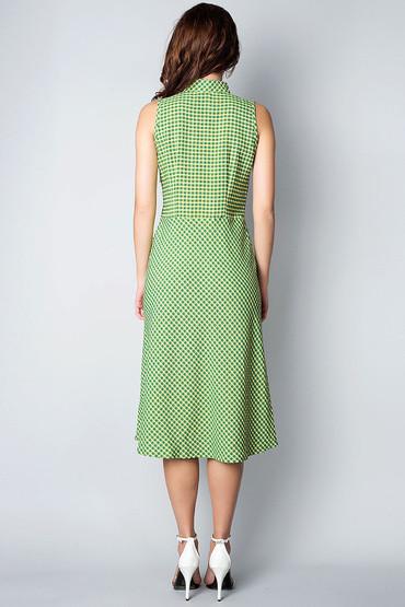 Платье-американка из льна зеленое П199