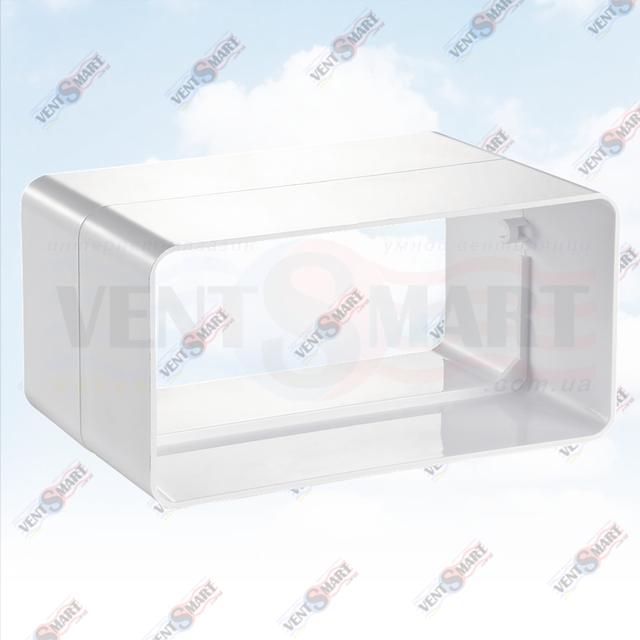 Внешний вид соединителя прямоугольных вентиляционных пластиковых труб системы ПЛАСТИВЕНТ производства ВЕНТС (Украина). Соединитель для плоского воздуховода 515/717/818 системы Пластивент изготовлены из пластика высокого качества, который не поддерживает горение, имеют гладкую внутреннюю поверхность, широкий диапазон температур эксплуатации ― от -30 до +70 град. Цельсия.
