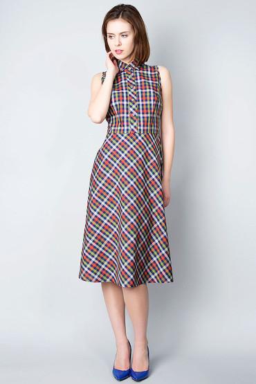 Платье-американка без рукавов в клетку П199