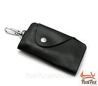 Эксклюзивная кожаная ключница на 6 пар черного цвета с застежкой, фото 1