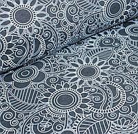 Футер белый орнамент цветов на графитовом №0061