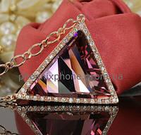 Видный кулон с крупным кристаллом Swarovski + цепочка, покрытые золотом  (302962)