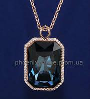 Изысканный кулон с крупным кристаллом Swarovski + цепочка, покрытые золотом  (302981)