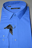 Синяя приталенная рубашка BAZZOLO (размеры M.L.XL.XXL.XXXL)