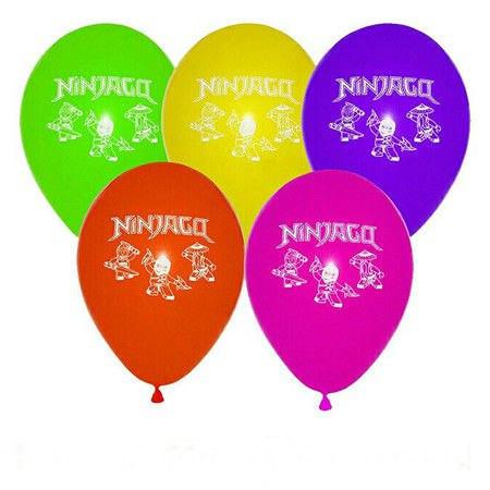 """Воздушные шарики пастель шелкография 10"""" (25 см) Ниндзяго, латексные круглые шары"""