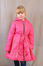 Красивое демисезонное пальтишко-плащ с вышивкой на девочку, р. 104,110,116, фото 3