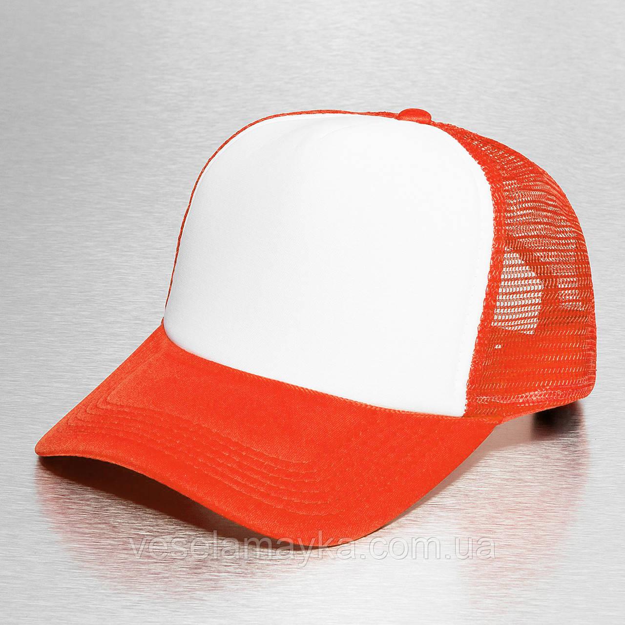 Оранжево-червона кепка тракер з білим