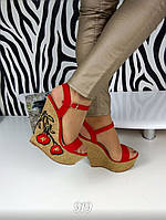 Женские босоножки на танкетке 15 см, эко замш, красные / босоножки для девочек, модные