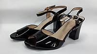 Женские черные босоножки на каблуке. Украина