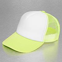 Неоново-желтая кепка тракер с белым