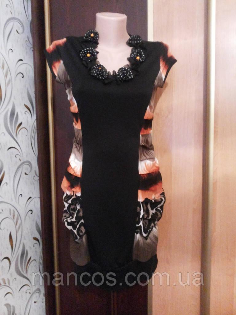 Платье черно-оранжевое