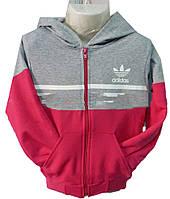 Детский спорт костюм на девочку 0168 с капюшоном манжет Adidas (деми)