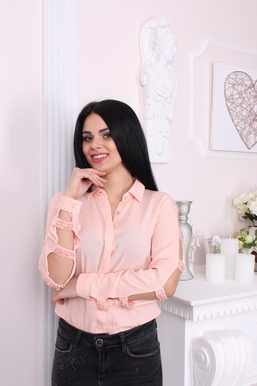 Розовая женская рубашка