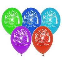 """Воздушные шарики пастель шелкография 10"""" (25 см) Холодное сердце, латексные круглые шары"""