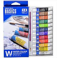 Краски 6 мл BASICS, 12 цветов «Water»
