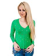 Свитер женский сердечки  зеленый, фото 1
