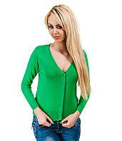 Свитер женский Однотонный  зеленый, фото 1