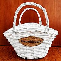 """Корзина """"сумка"""" из бамбука, белая (285w) 28х29 см"""