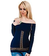 Свитер женский хомут синий