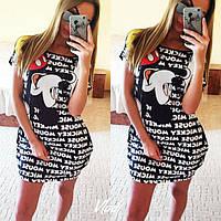 Женское летнее платье-туника с надписями 8835