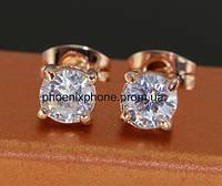 Серьги в лаконичном стиле с милыми австрийскими кристаллами, покрытые золотом (203510)