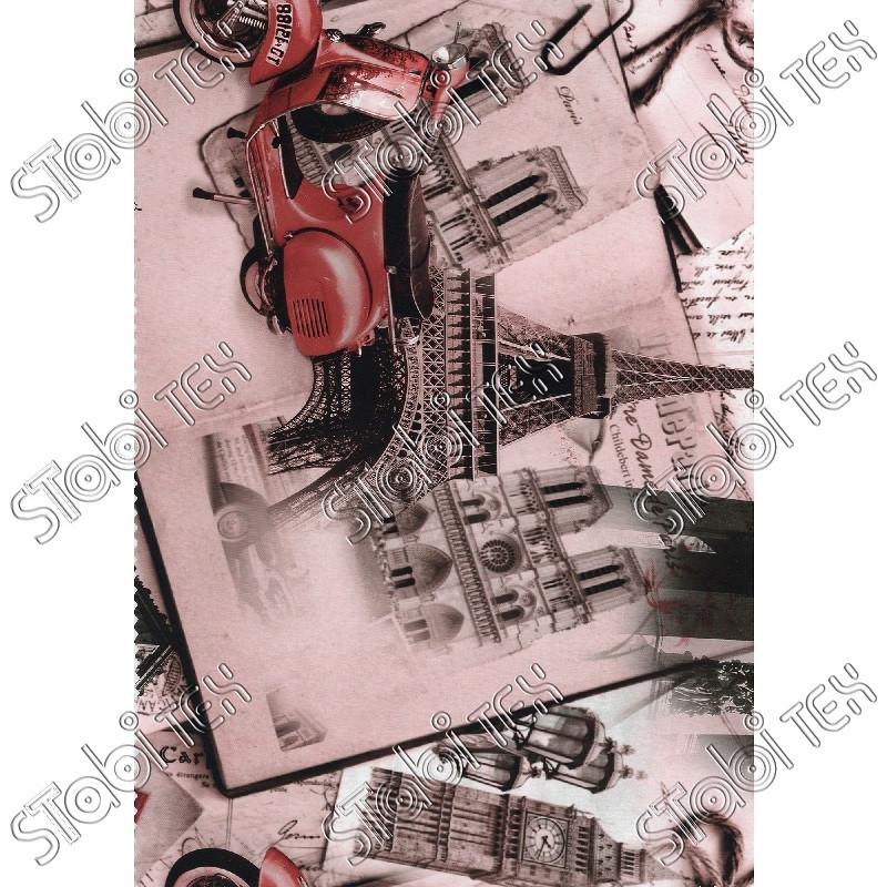 """Искусственная кожа Folio Desen (принт цветной) """"Париж розовый"""""""
