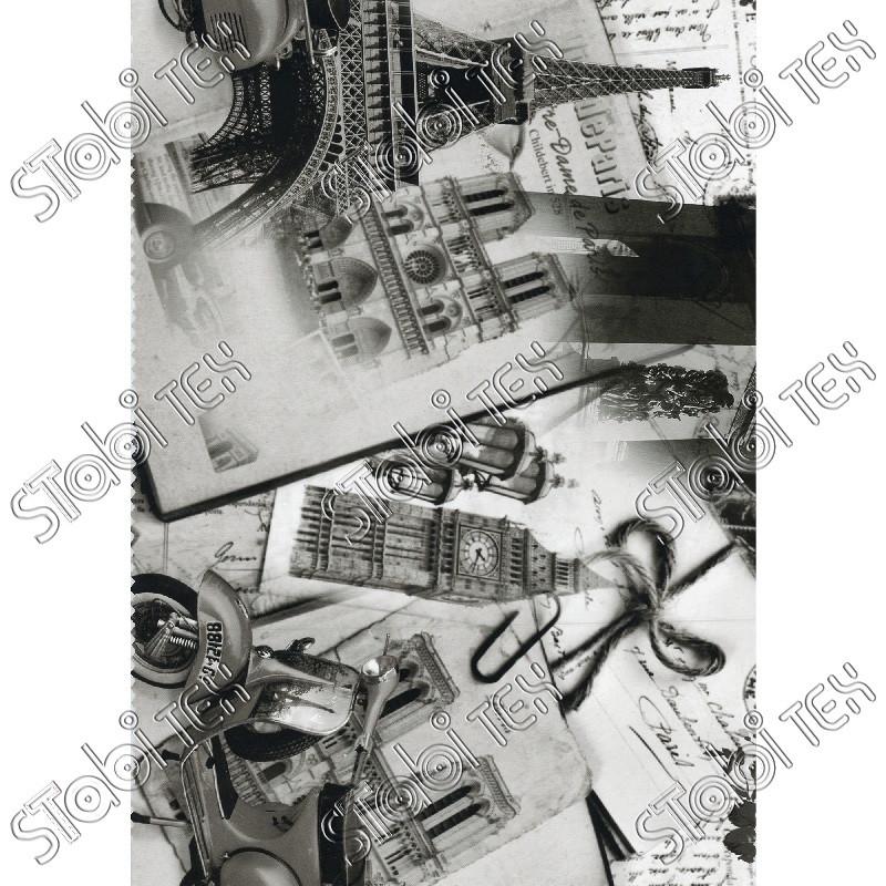 """Искусственная кожа Folio Desen (принт цветной) """"Париж серый"""""""