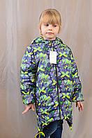 Красивая весенняя детская куртка в бабочки с оригинальным капюшоном