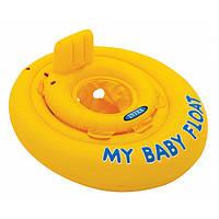 Детский надувной плотик со спинкой 56585 Intex, желтый