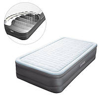 Надувная велюр кровать со встроенным электронасосом 64482 Intex, 203х152х51 см