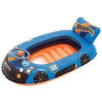 Плотик детский надувной в форме машинки HotWheels 93405 Bestway, 112х71 см