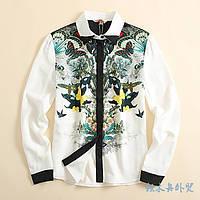 """Модная, женская рубашка из креп шифона """"Принт бабочки"""" Фабричный Китай!"""