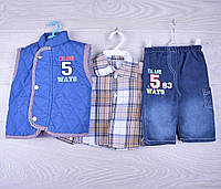 """Детский  нарядный костюмчик на мальчика """"Пять"""". 0.9-1.6 лет. Синий. Оптом."""