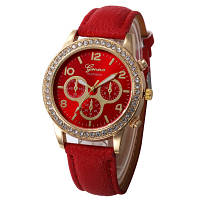 Женские часы Geneva Platinum красные, фото 1
