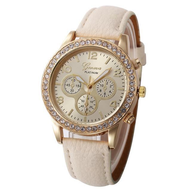 Женские часы Geneva Platinum бежевые, фото 1