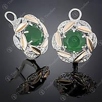 Серебряные серьги с агатом и фианитами. Артикул С-419